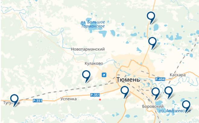грибная карта мест Тюмени и области на фото 1