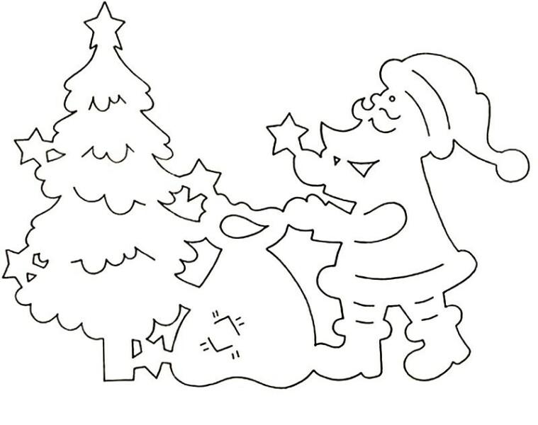 Дед Мороз - трафареты для вырезания на окна фото 2