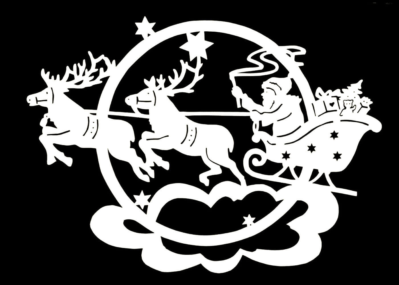 Дед Мороз - трафареты для вырезания на окна фото 3
