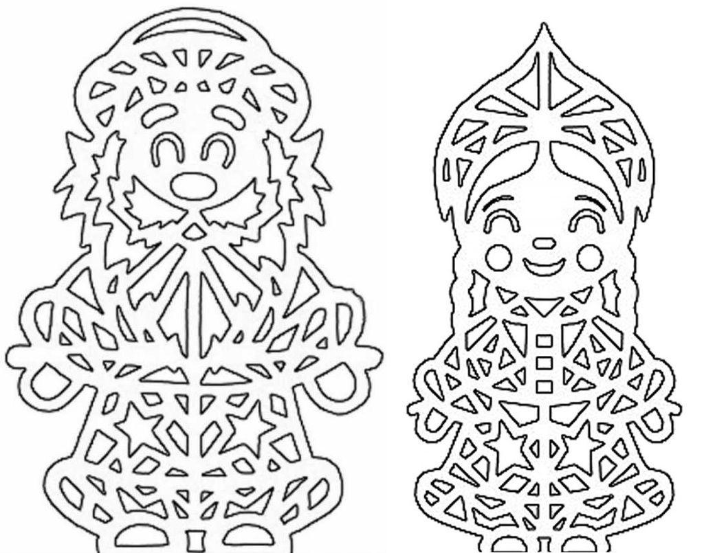 Дед Мороз - трафареты для вырезания на окна фото 5