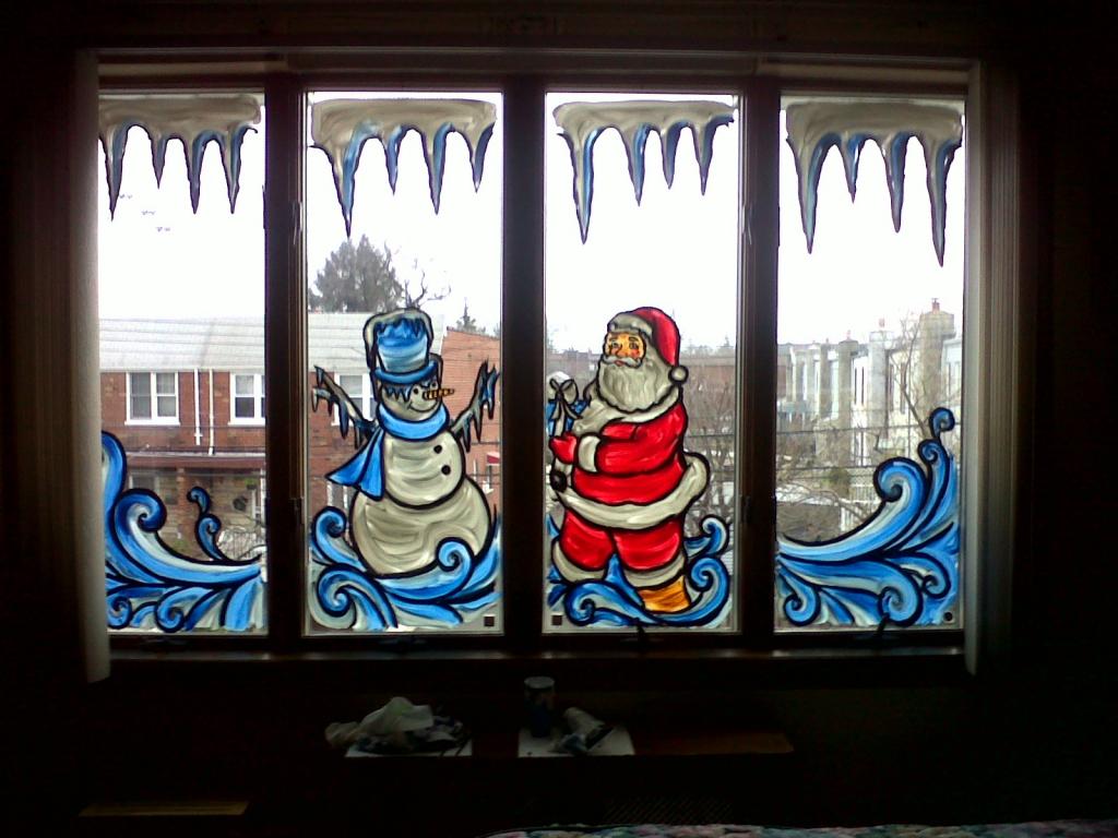 рисование на стекле или декор окна снежным рисунком фото 2