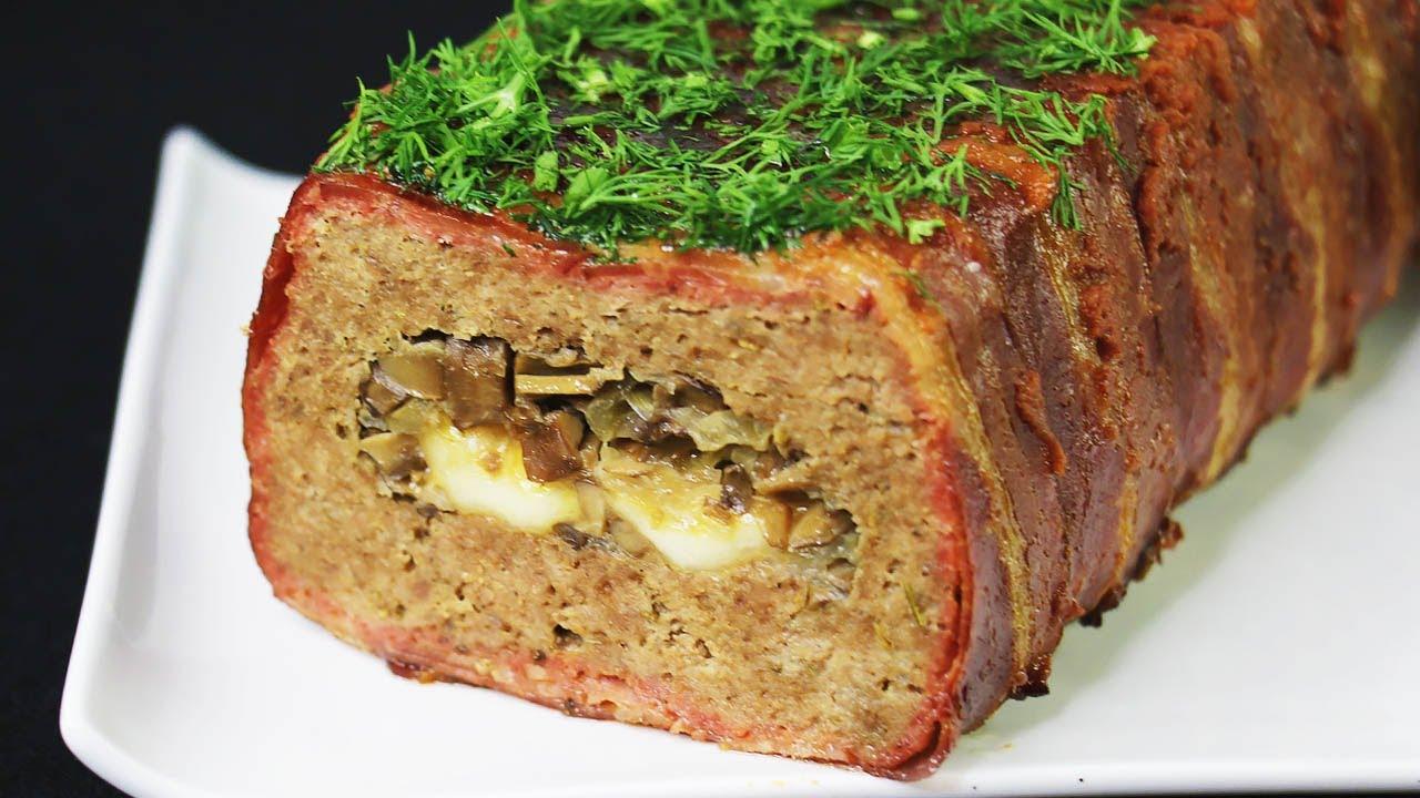 мясной рулет с добавлением сыра и грибов фото