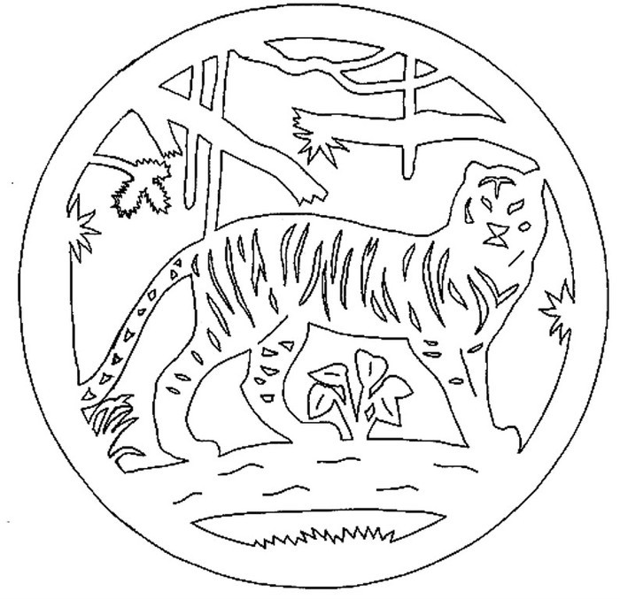 вытынанка символа 2022 года - Тигра фото 2