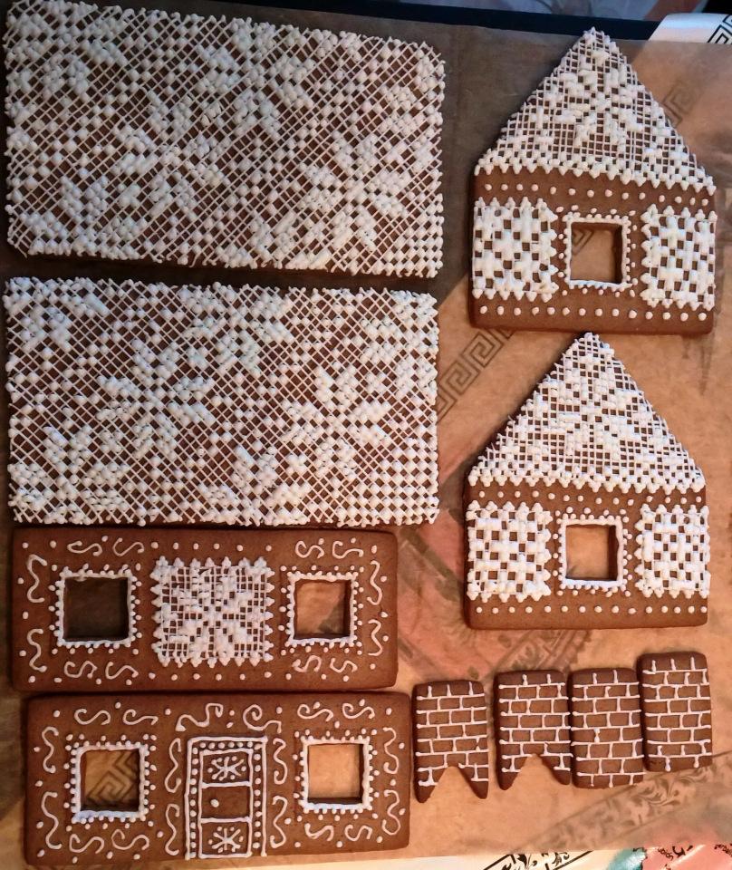 пошаговый рецепт пряничного домика на Новый год 2021 и Рождество фото 5