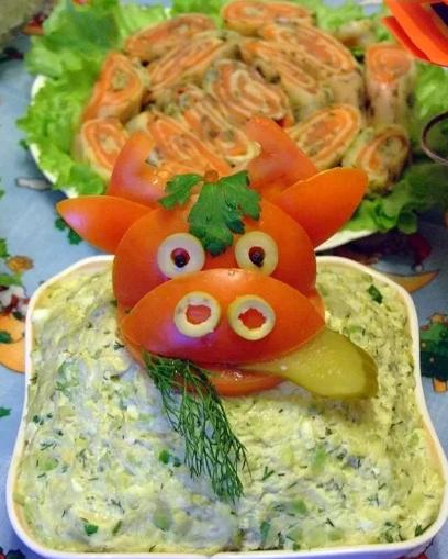 варианты оформления салатов, фото идеи 3