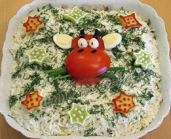 варианты оформления салатов, фото идеи 2