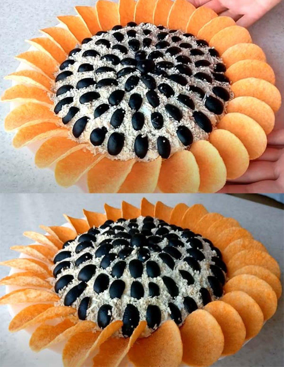 салат Подсолнух с добавлением крабовых палочек или креветок фото