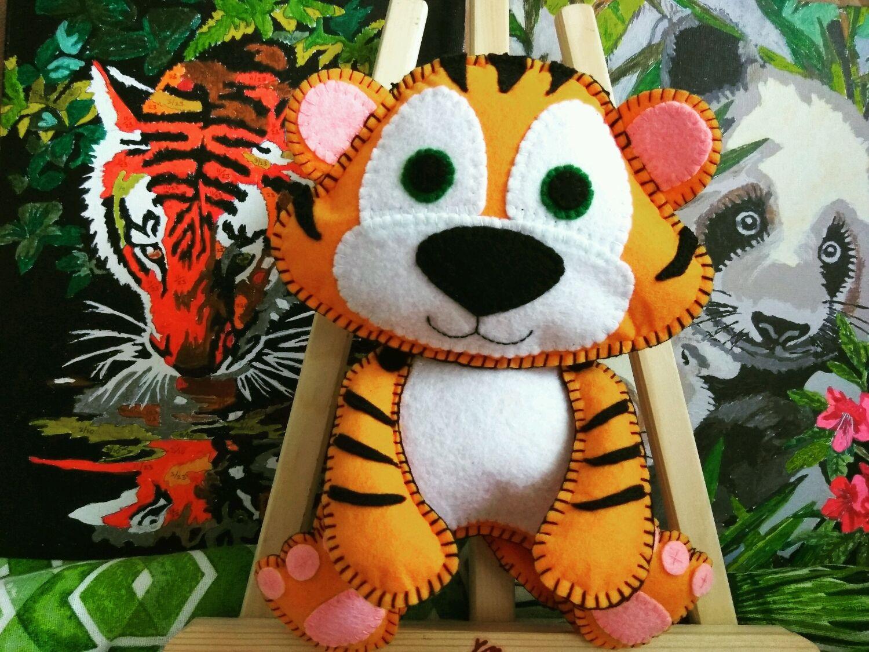 мастер-класс №7 - тигрёнок из фетра, выкройка на фото 3