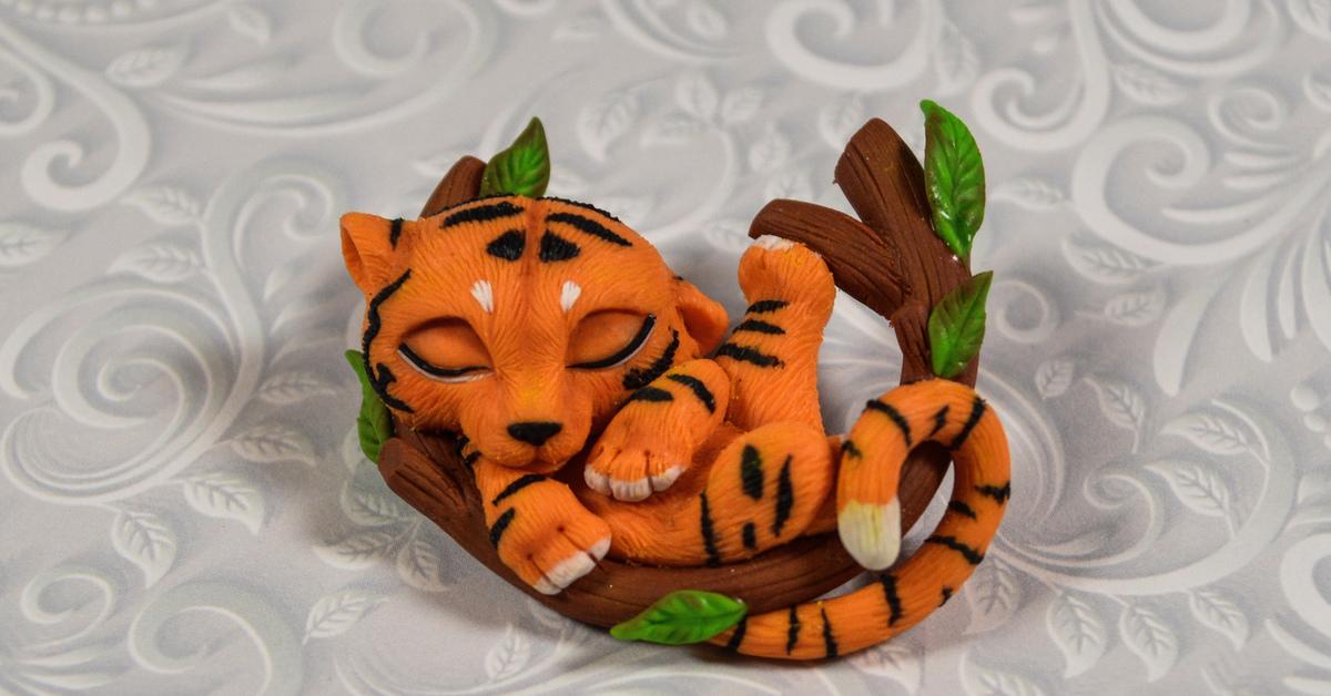 тигрёнок из полимерной глины фото 2