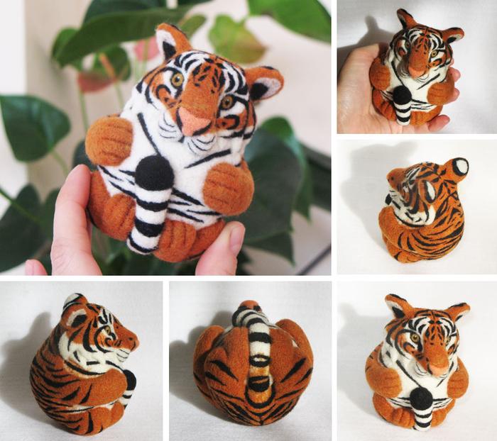 тигруша из войлока или валяной шерсти фото 5