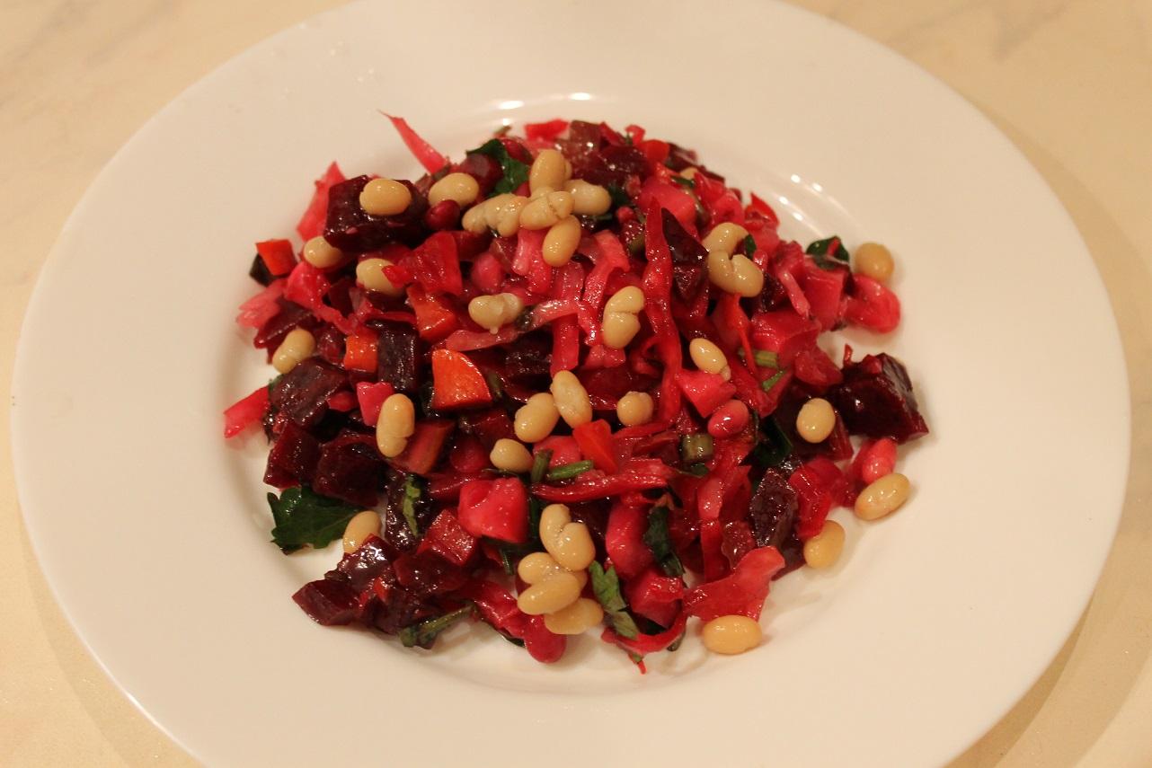 №1 - Традиционный рецепт винегрета с фасолью фото